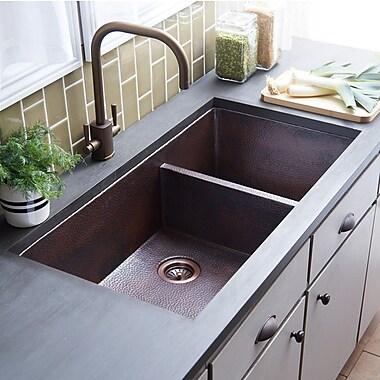 Native Trails Cocina Duet Pro 40'' x 21'' Double Basin Undermount Kitchen Sink; Antique Copper