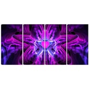 DesignArt Metal 'Heart at the Center Purple Abstract' 4 Piece Graphic Art Set