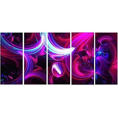 DesignArt Metal 'Purple Haze Abstract' 5 Piece Graphic Art Set