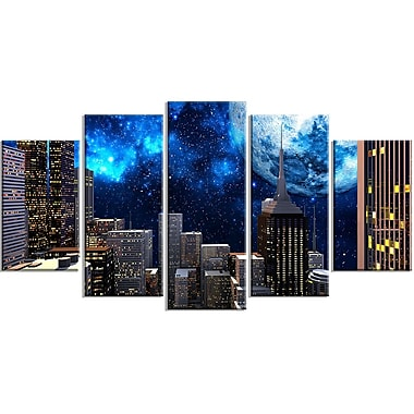 DesignArt Metal 'Abstract City at Night' 5 Piece Graphic Art Set
