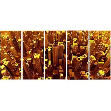 DesignArt Metal 'Golden City from the Sky' 5 Piece Graphic Art Set