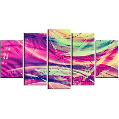 DesignArt Metal 'Pink/Yellow Vintage Abstract' 5 Piece Graphic Art Set