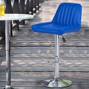 AdecoTrading Adjustable Height Swivel Bar Stool with Cushion (Set of 2); Bright Blue