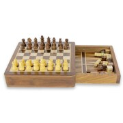 Novica Rakesh Pathak 2 in 1 Wood Travel Chess and Backgammon