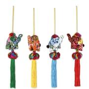 Novica Thikaporn 4 Piece Thai Elephant By Hand Crafted Ornament Set