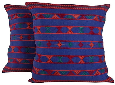 Novica Hand Crafted Patterned Cotton Throw Pillow Cover (Set of 2)