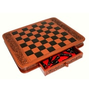 Novica Wilfredo Rios Decorative Handcrafted Peruvian Wood Leather Chess Set