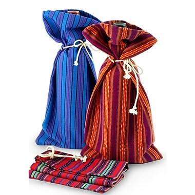 Novica Colorful Hand-Woven Cotton Wine Bottle Bag (Set of 3)
