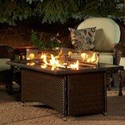 The Outdoor GreatRoom Company Montego Crystal Fire Pit Coffee Table w/ Wicker Base; Balsam