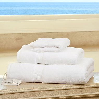 Laguna Beach Towel Company Plush 3 Piece Bath Towel Set; White