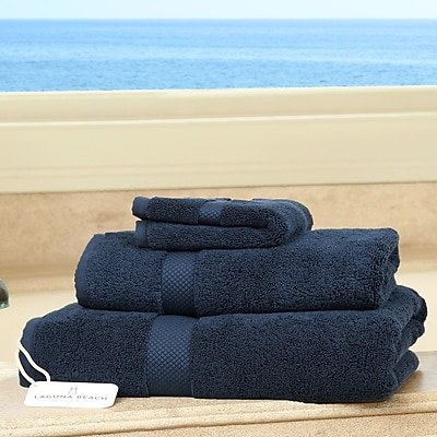 Laguna Beach Textile Company Plush 3 Piece Bath Towel Set; Dress Blues