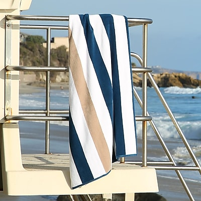 Laguna Beach Textile Company Plush Cabana Beach Towel; Ocean Blue / Almond