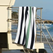 Laguna Beach Textile Company Plush Cabana Beach Towel; Midnight Blue / Sea Foam