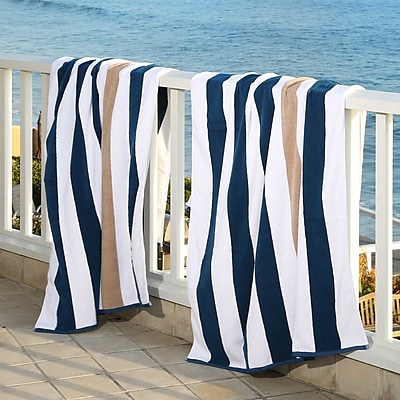 Laguna Beach Textile Company Plush Cabana Beach Towel (Set of 2); Ocean Blue / Almond