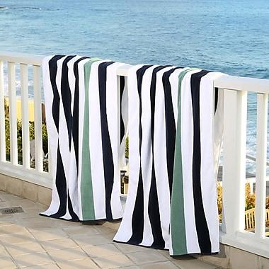 Laguna Beach Towel Company Plush Cabana Beach Towel (Set of 2); Midnight Blue / Sea Foam