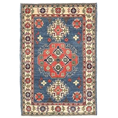 Herat Oriental Kazak Hand-Knotted Blue/Ivory Area Rug