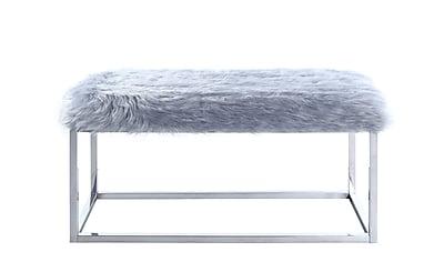 Iconic Home Marilyn Vanity Stool; Gray Fur WYF078279135198
