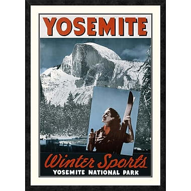 Global Gallery 'Yosemite / Winter Sports' Framed Vintage Advertisement; 42'' H x 30.78'' W x 1.5'' D