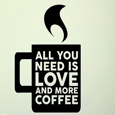 SweetumsWallDecals Love and More Coffee Wall Decal; Black