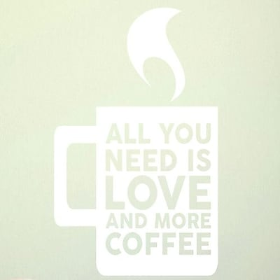 SweetumsWallDecals Love and More Coffee Wall Decal; White
