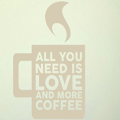 SweetumsWallDecals Love and More Coffee Wall Decal; Beige