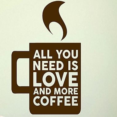 SweetumsWallDecals Love and More Coffee Wall Decal; Brown