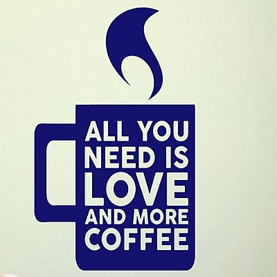 SweetumsWallDecals Love and More Coffee Wall Decal; Navy