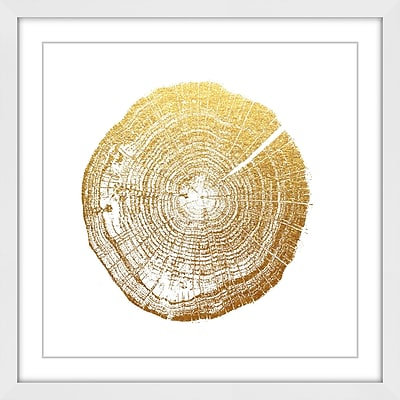 Marmont Hill 'Log Cutout Gold' by Amanda Greenwood Framed Painting Print; 24'' H x 24'' W x 1.5'' D
