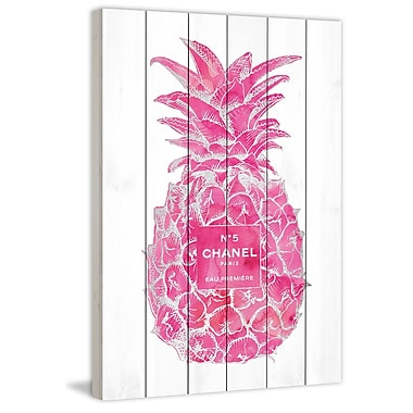 Marmont Hill 'Pineapple Pink Silver' by Amanda Greenwood Painting Print on White Wood