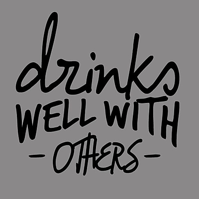 SweetumsWallDecals Drinks Well w/ Others Wall Decal; Black