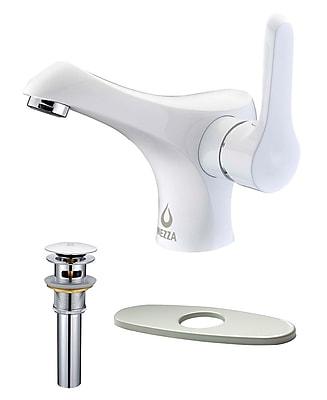 Nezza Falcon Bathroom Faucet, Pop-up Drain Overflow w/ Deck Plate; White