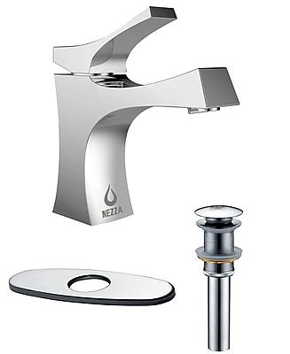 Nezza Talon Bathroom Faucet, Pop-up Drain without Overflow and Deck Plate; Chrome