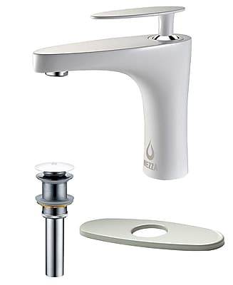 Nezza Cobra Bathroom Faucet, Pop-up Drain without Overflow and Deck Plate; White