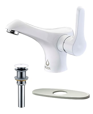 Nezza Falcon Bathroom Faucet, Pop-up Drain without Overflow and Deck Plate; White