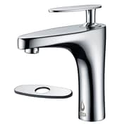 Nezza Cobra Single Handle Bathroom Faucet w/ Deck Plate; Chrome