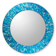 Novica Glass Tile Round Wall Mirror; Tropical Fusion