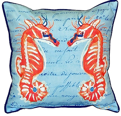 Betsy Drake Interiors Coral Sea Horses Indoor/Outdoor Throw Pillow
