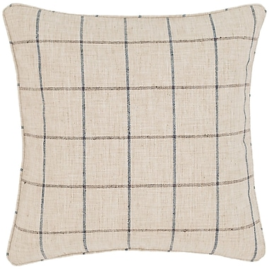 Fresh American Chatham Tattersall Indoor/Outdoor Throw Pillow; Natural / Grey