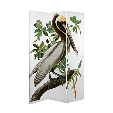 Oriental Furniture 71'' x 38.75'' Tall Double Sided Audubon Pelican Canvas 3 Panel Room Divider