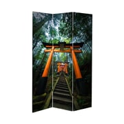 Oriental Furniture 71'' x 38.75'' Tall Double Sided Japanese Torii Gate Canvas 3 Panel Room Divider