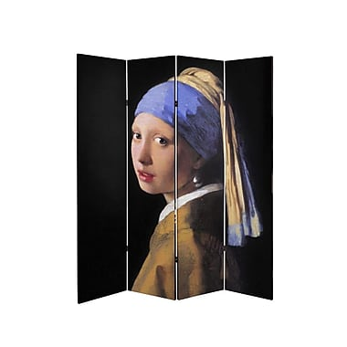 Oriental Furniture 71'' x 51.66'' Tall Double Sided Works of Vermeer Canvas 4 Panel Room Divider