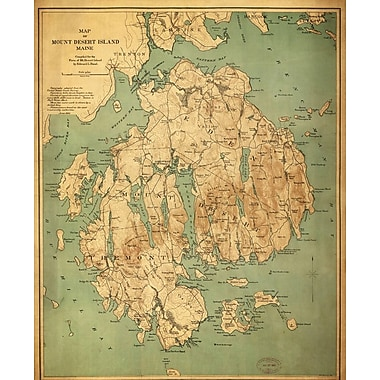 Graffitee Studios Maps 'Map of Mount Desert Island Maine' Graphic Art on Wrapped Canvas