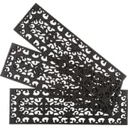 Entryways Black Fleur Di Lys Stair Tread (Set of 3)