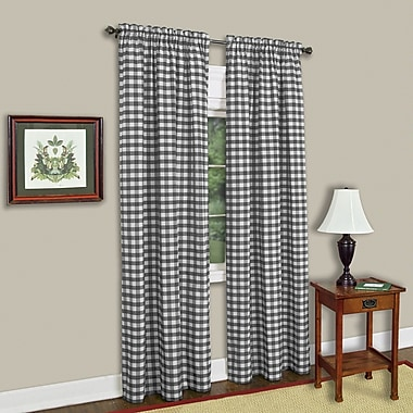 Sweet Home Collection Buffalo Check Single Curtain Panel; Black/White