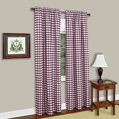 Sweet Home Collection Buffalo Check Single Curtain Panel; Burgundy
