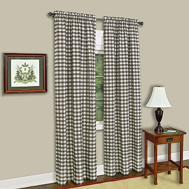 Sweet Home Collection Buffalo Check Single Curtain Panel; Taupe