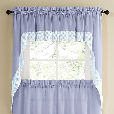 Sweet Home Collection Salem Kitchen Swag Curtain Valance (Set of 2); Blue WYF078278168111