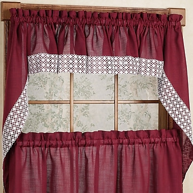 Sweet Home Collection Salem Kitchen Swag Curtain Valance (Set of 2); Burgundy