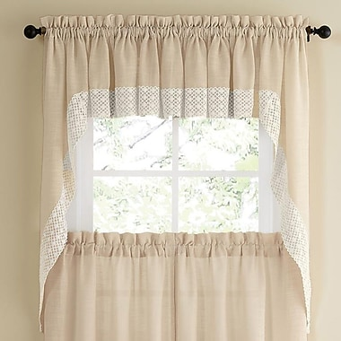 Sweet Home Collection Salem Kitchen Swag Curtain Valance (Set of 2); French Vanilla