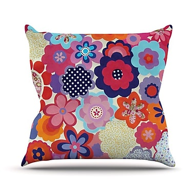 KESS InHouse Patchwork Flowers Throw Pillow; 20'' H x 20'' W